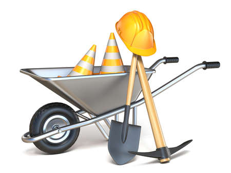 Wheelbarrow with shovel, pickaxe, traffic cones and hardhat 3D render illustration isolated on white background