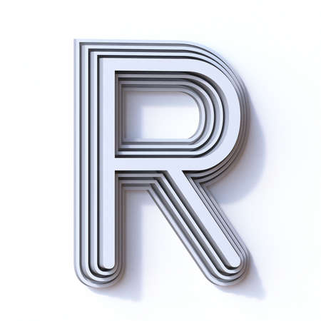 Three steps font letter R 3D render illustration isolated on white background Stock Photo