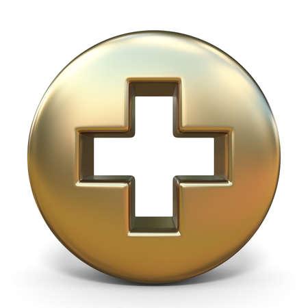 Symbol plus golden sign 3D rendering illustration isolated on white background