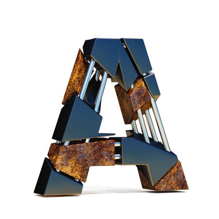 Black brown fracture font LETTER A 3D rendering illustration isolated on white background