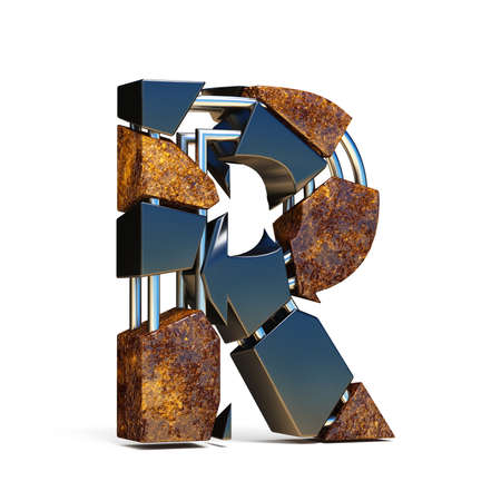 Black brown fracture font LETTER R 3D rendering illustration isolated on white background