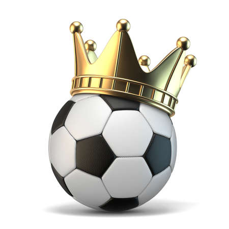 Golden crown on soccer ball 3D rendering illustration isolated on white background
