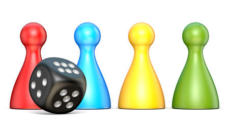 Plastic game figures and one black dice 3D rendering illustration isolated on white background Stok Fotoğraf - 101743503