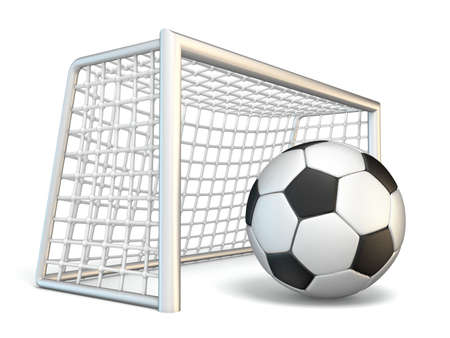 Soccer ball and soccer gate side view 3D rendering illustration isolated on white background Stock Photo