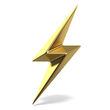 Golden lightning double symbol two sides sharp 3D rendering illustration isolated on white background