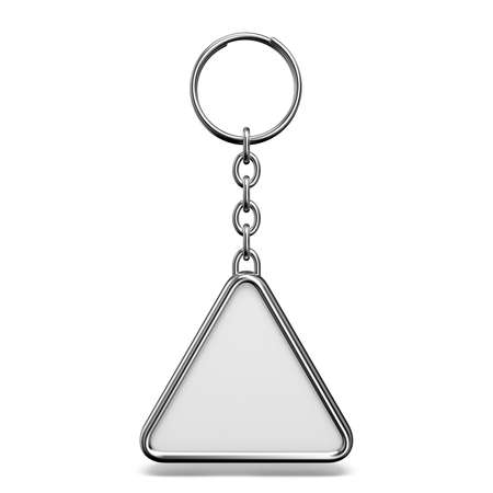 Blank metal trinket with a ring for a key triangle shape 3D rendering illustration isolated on white background