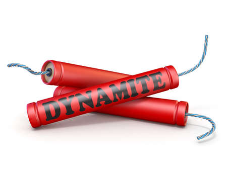 Red dynamite sticks 3D rendering illustration isolated on white background