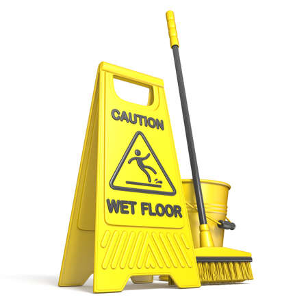 Yellow wet floor sign, bucket and mop 3D rendering illustration isolated on white background