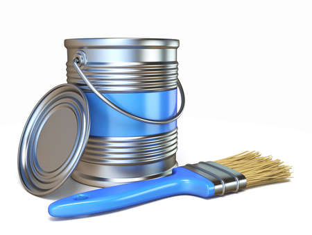 Blue color metal paint can and brush 3D rendering illustration isolated on white background