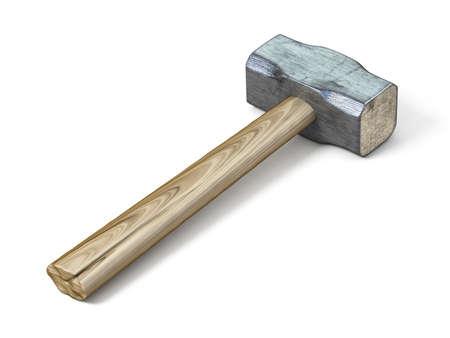 Metal sledge hammer 3D rendering illustration isolated on white background