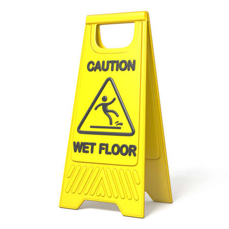Yellow caution slippery wet floor sign 3D rendering illustration isolated on white background