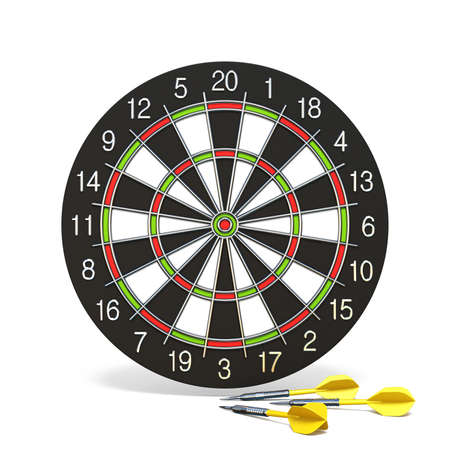 Yellow dart arrows in front of dartboard 3D rendering illustration isolated on white background