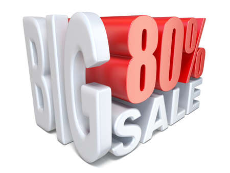 White red big sale sign PERCENT 80 3D render illustration isolated on white background 写真素材