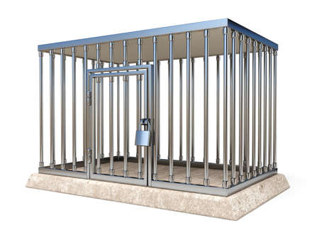 Metal cage with lock side view 3D render illustration isolated on white background
