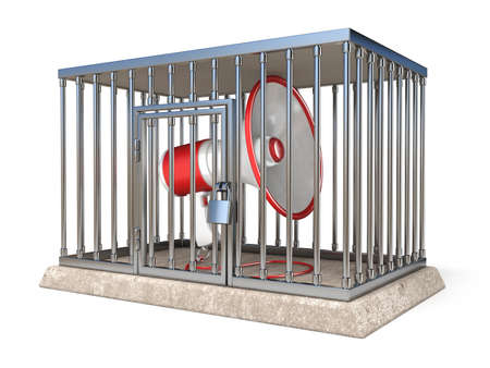 Megaphone inside metal cage 3D render illustration isolated on white background