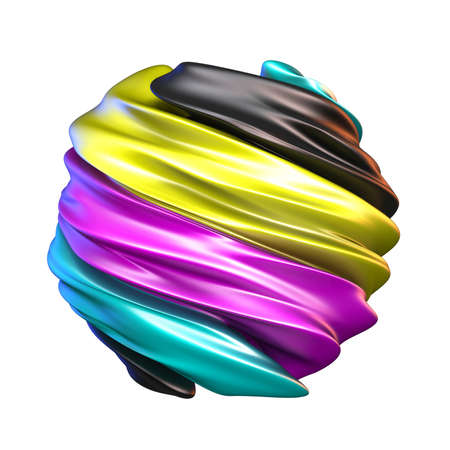 Abstract CMYK colors sphere 3D render illustration isolated on white background