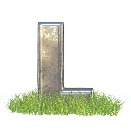 Galvanized metal font Letter L in grass 3D render illustration isolated on white background