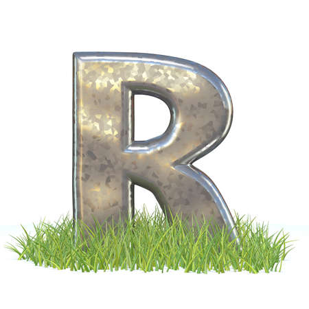 Galvanized metal font Letter R in grass 3D render illustration isolated on white background