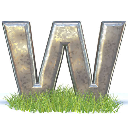 Galvanized metal font Letter W in grass 3D render illustration isolated on white background