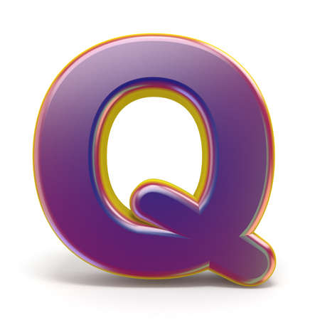 Letter Q purple font yellow outlined 3D rendering illustration isolated on white background