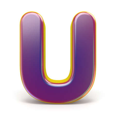 Letter U purple font yellow outlined 3D rendering illustration isolated on white background