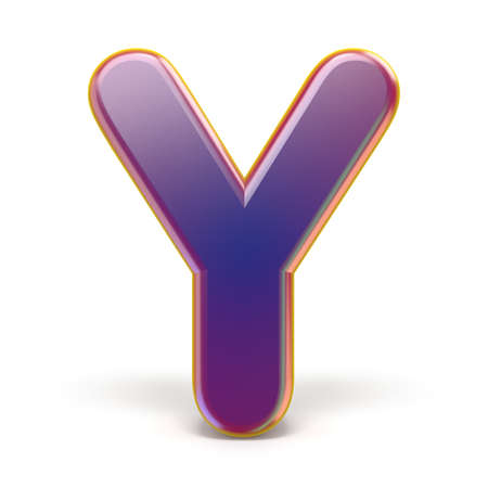 Letter Y purple font yellow outlined 3D rendering illustration isolated on white background