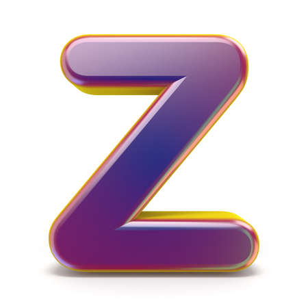 Letter Z purple font yellow outlined 3D rendering illustration isolated on white background Stock fotó