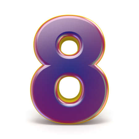 Number EIGHT 8 purple font yellow outlined 3D rendering illustration isolated on white background