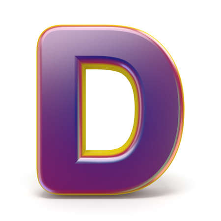 Letter D purple font yellow outlined 3D rendering illustration isolated on white background
