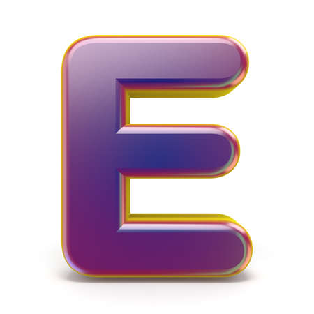 Letter E purple font yellow outlined 3D rendering illustration isolated on white background