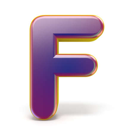 Letter F purple font yellow outlined 3D rendering illustration isolated on white background