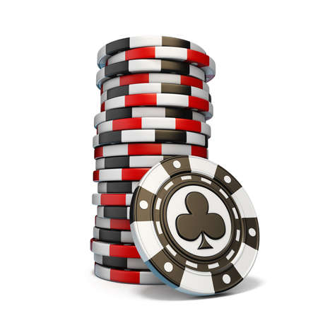 Stack of gambling chips and one Black club chip 3D render illustration isolated on white background 免版税图像