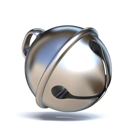 Srebrny sanie dzwon 3D renderowania ilustracji na białym tle