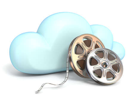 Cloud icon with movies tapes 3D rendering isolated on white background Stock Photo