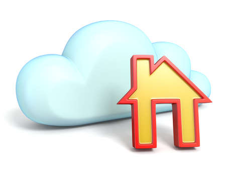 Cloud icon with house 3D rendering isolated on white background