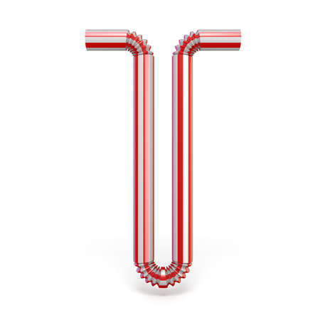 Drinking straw font Letter T 3D render illustration isolated on white background