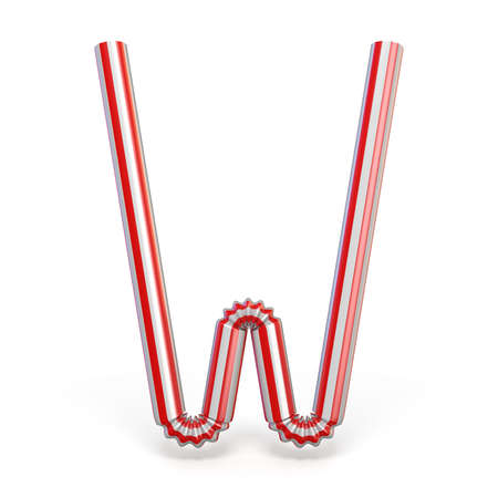 Drinking straw font Letter W 3D render illustration isolated on white background Stock Photo