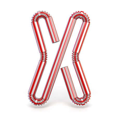 Drinking straw font Letter X 3D render illustration isolated on white background