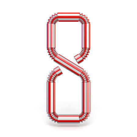 Drinking straw Number 8 EIGHT 3D render illustration isolated on white background