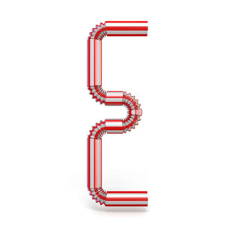 Drinking straw font Letter E 3D render illustration isolated on white background Stock Photo