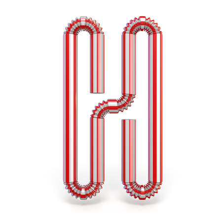 Drinking straw font Letter H 3D render illustration isolated on white background