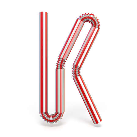 Drinking straw font Letter K 3D render illustration isolated on white background