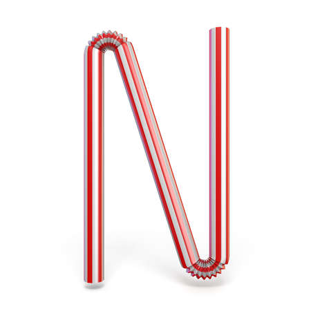 Drinking straw font Letter N 3D render illustration isolated on white background 写真素材