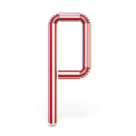 Drinking straw font Letter P 3D render illustration isolated on white background