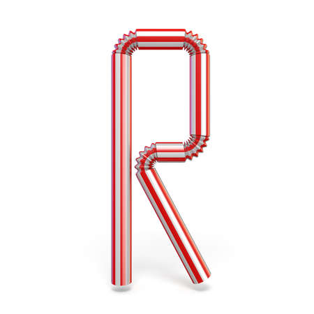 Drinking straw font Letter R 3D render illustration isolated on white background Banco de Imagens