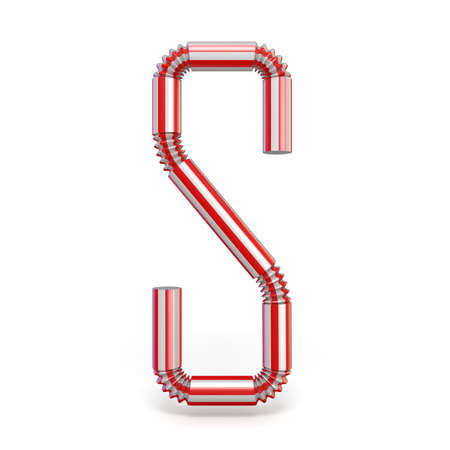 Drinking straw font Letter S 3D render illustration isolated on white background 写真素材 - 109334213
