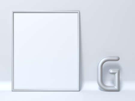 Mock up picture frame Letter G 3D render illustration Stock fotó