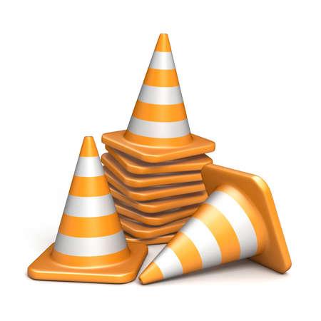Verkeerskegels 3D render illustratie geïsoleerd op een witte achtergrond