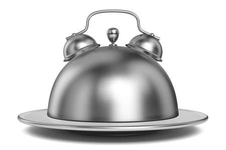 Metal restaurant cloche alarm concept 3D render illustration isolated on white background