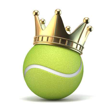 Golden crown on tennis ball 3D render illustration isolated on white background